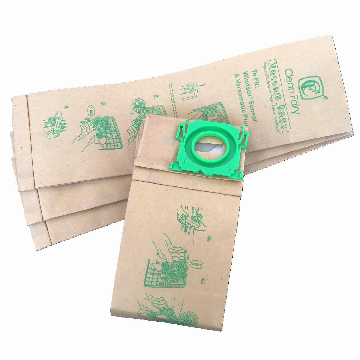 CF Clean Fairy vacuum bags used for Windsor Sensor 5300REP Upright Vacuum Paper Bags Professional G1, C2,C3, K2, K3, X, G & C Series, 12 & 15 upright series 20pack
