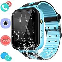 Smartwatch IP67 Impermeable para niños con GPS rastreadores Relojes Inteligentes al Agua Teléfono con AGPS/LBS SOS Cámara Juegos de Chat de Voz para niños niñas(Azul)