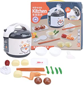 Zerodis DIY Decorative Rice Cooker Set Kids Rice Cooker Toy with Music Plastic Simulation Children Kitchen Cooking Appliances Toys Set for Over 3 Years Old Kids(Grey)