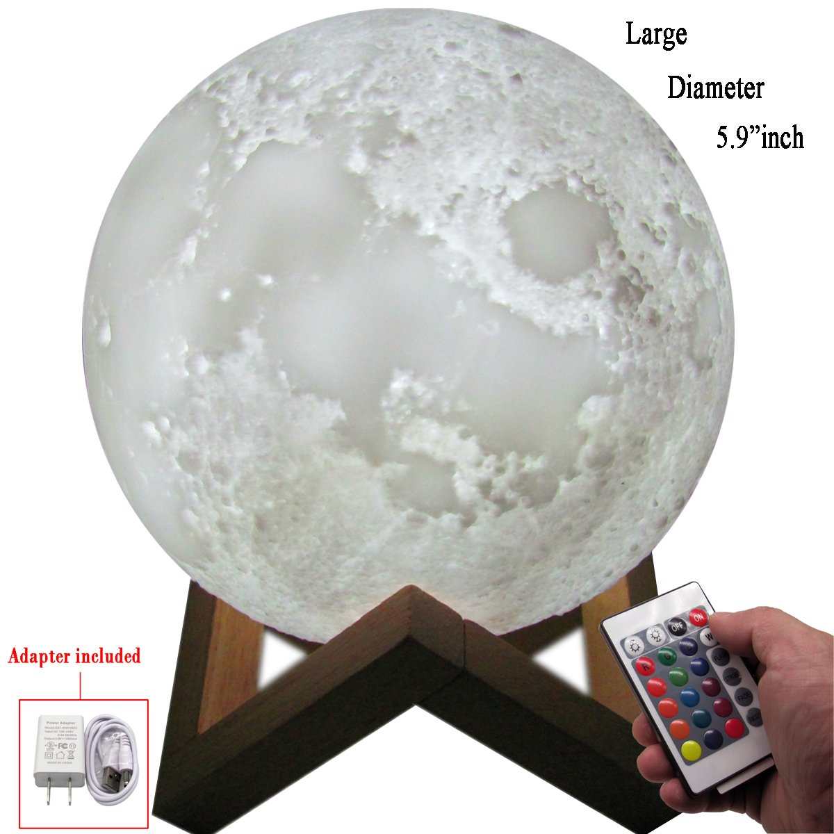 [Newest Design] Moon Lamp,16 Colors,3D LED,Remote Control & Dimmable Touch Sensor,Night Light for Kids(Diameter-5.9 inch)