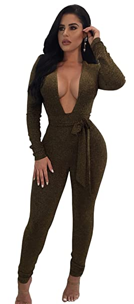 0ccb38f7d000 Longwu Women s Sexy Sparkly V Neck Long Sleeve Party Clubwear Bandage  Romper Jumpsuit ArmyGreen-M