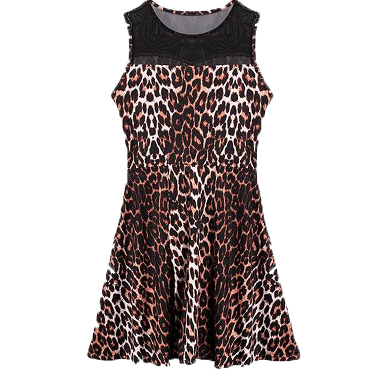 YUNY Women Sleeveless Leopard Slim Fit Hollow Mid Dress
