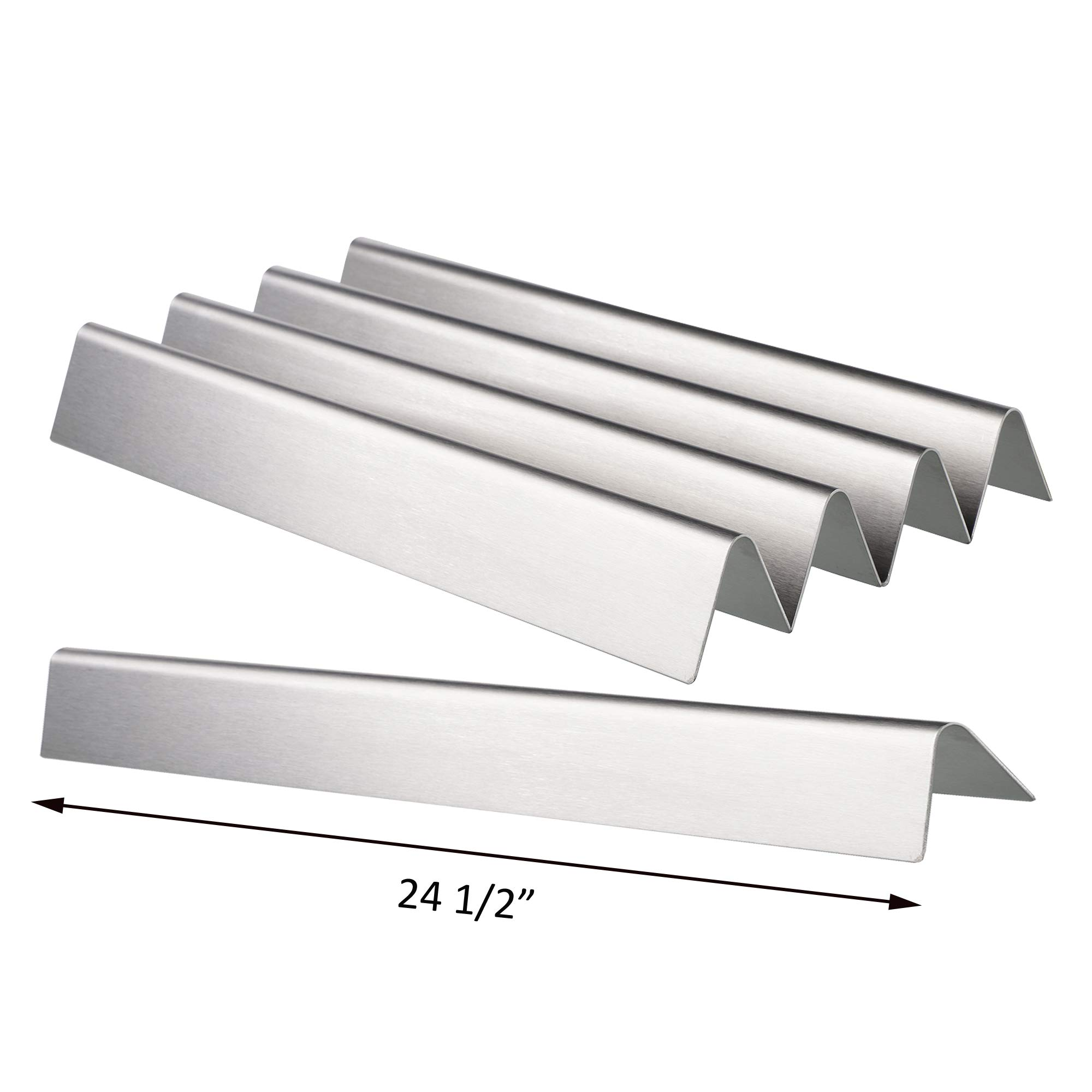 QuliMetal 7540 24.5 Inches Flavor Bars for Weber Genesis 300 Series, E310, E320, S310, S320 (with Side Control Panel), 5 Pack Grill Parts Stainless Steel Heat Plates for Weber 7539 7540, 16 GA by QuliMetal
