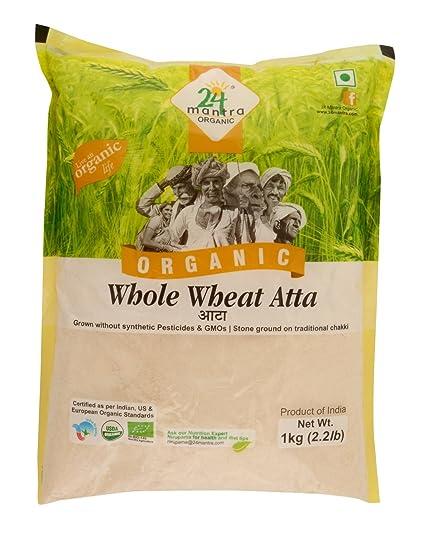 24 Mantra Organic Wholewheat Atta Premium, 1kg