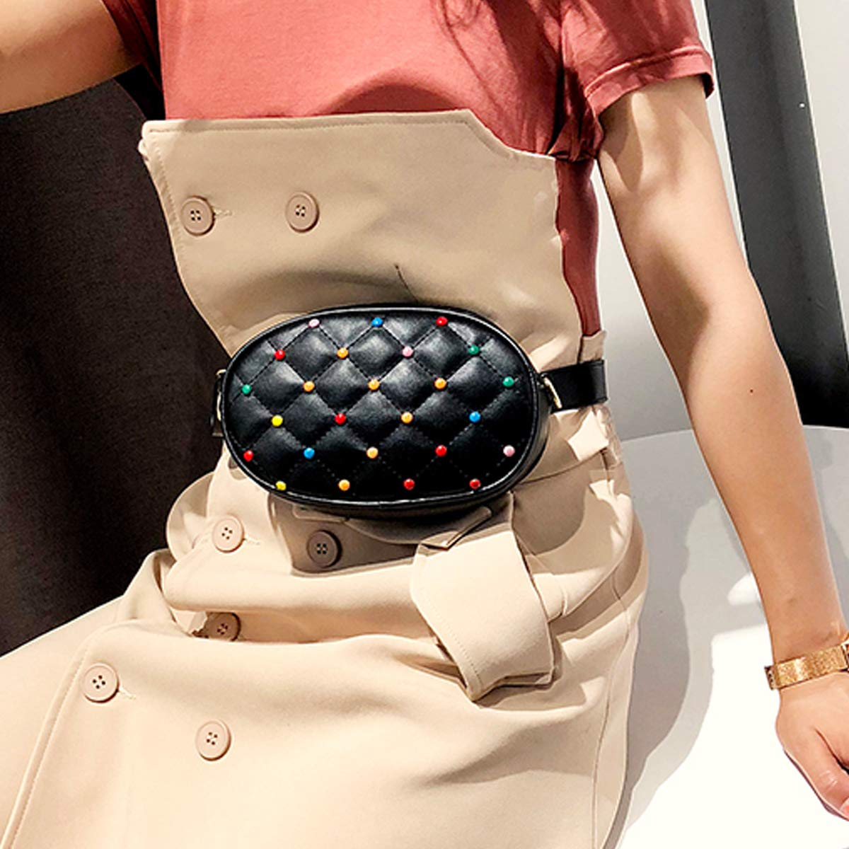 White Women Stylish Quilted Leather Fanny Pack with Color Stud,Dual Use Belt Bag Chain Shoulder Bag Waist Pouch With 2 Straps