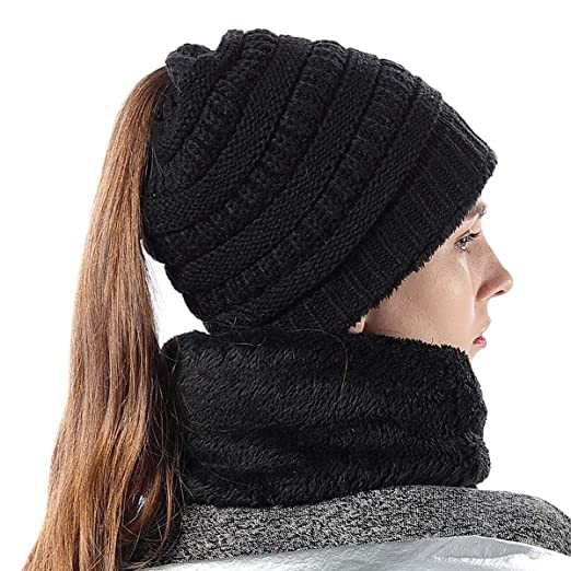 6fb9ed3ce73 Girls Hat Scarf Set Stretch Knit High Ponytail Beanie Tail Winter Outdoor  Ski Warm Liner Skull