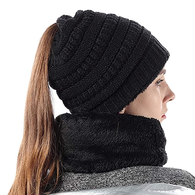 Girls Knit Infinity Loop Scarf And Beanie Hat Set Fuzzy Lining Winter Warm  Black 8a03a947cd1