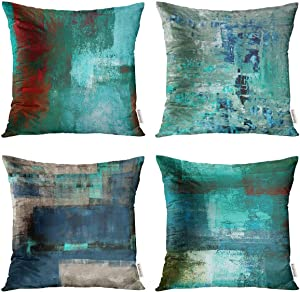 Taysta Set of 4 Decorative Throw Pillow Covers Cases Turquoise and Teal Blue and Beige and Red Abstract Art Modern Home Square Decor Pillow Case Cover Cushion Sofa Size 20x20 Inches Pillowcases