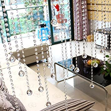 Cortina de cuentas de cristal de LtrottedJ, lujosa, para salón, dormitorio, ventana, puerta, decoración de boda: Amazon.es: Juguetes y juegos