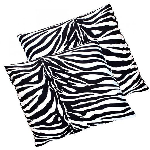 Pack de 2 Zebra microfibra almohada almohada funda de cojín (todos los tamaños, 100% microfibra de poliéster, 50 x 50 cm
