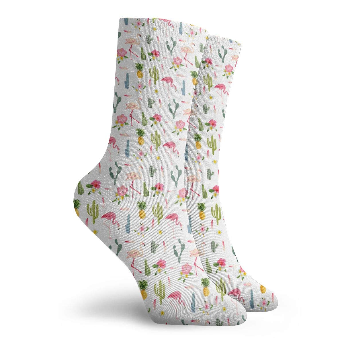 Unisex Tropical Flamingo Bird Cactus Athletic Quarter Ankle Print Breathable Hiking Running Socks