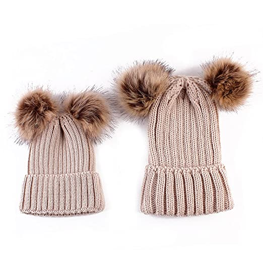 ca1a70333c7 Amazon.com  Rumfo 2PCS Parent-child Hat Winter Warmer