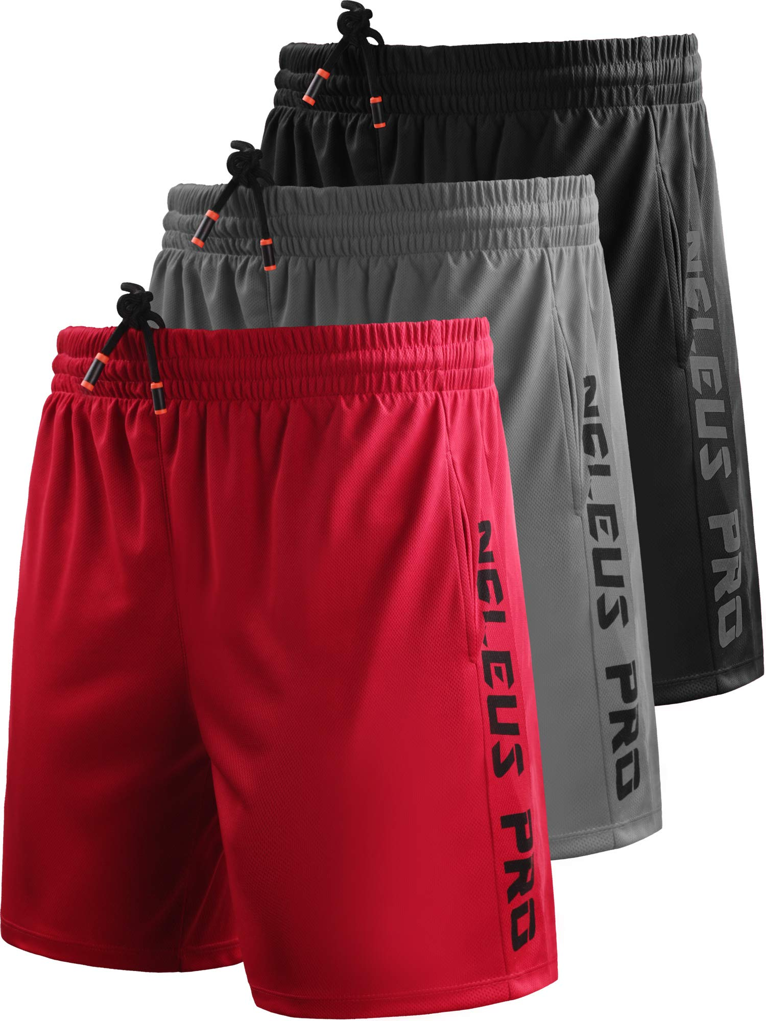 Neleus Men's 7'' Workout Running Shorts with Pockets,6056,3 Pack,Black/Grey/Red,XL,EU 2XL by Neleus