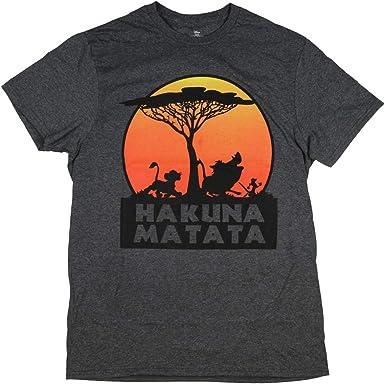 Disney The Lion King Hakuna Matata Tree Silhouette Orange Sunset Men's T shirt
