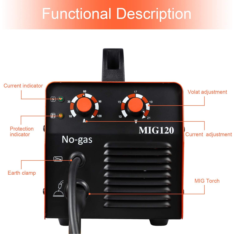 Soldador MIG 120A 110 / 220V DC Mini inversor 40% Ciclo de trabajo Soldadura sin gas Máquina de soldadura con antorcha Mig Conexión a tierra 0.8mm Núcleo de ...