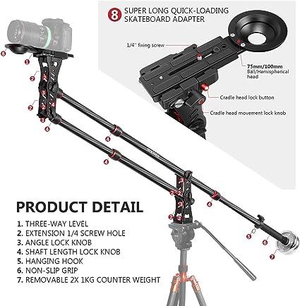 Neewer 200 Zentimeter Kohlefaser Ausleger Kamerakran Kamera