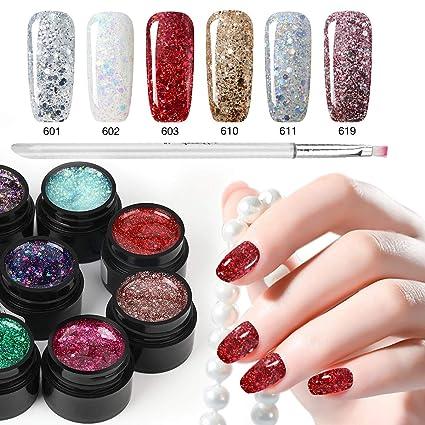 Esmalte de uñas con purpurina de 6 colores + bolígrafo de pintura, Saviland Soak Off. Pasa ...