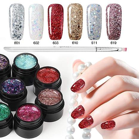 Esmalte de uñas con purpurina de 6 colores + bolígrafo de pintura, Saviland Soak Off