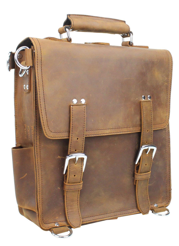 Vagabond Traveler Hiker-14'' Tall Leather Backpack Tote Bag L04. Vintage-Brown