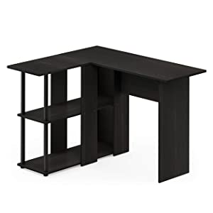 Furinno Abbott L-Shape Desk with Bookshelf, Espresso/Black