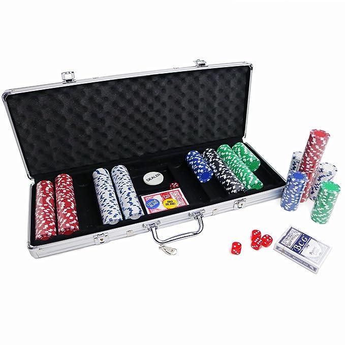 4 opinioni per Set kit poker in valigetta 500 fiches chips con print carte e dadi
