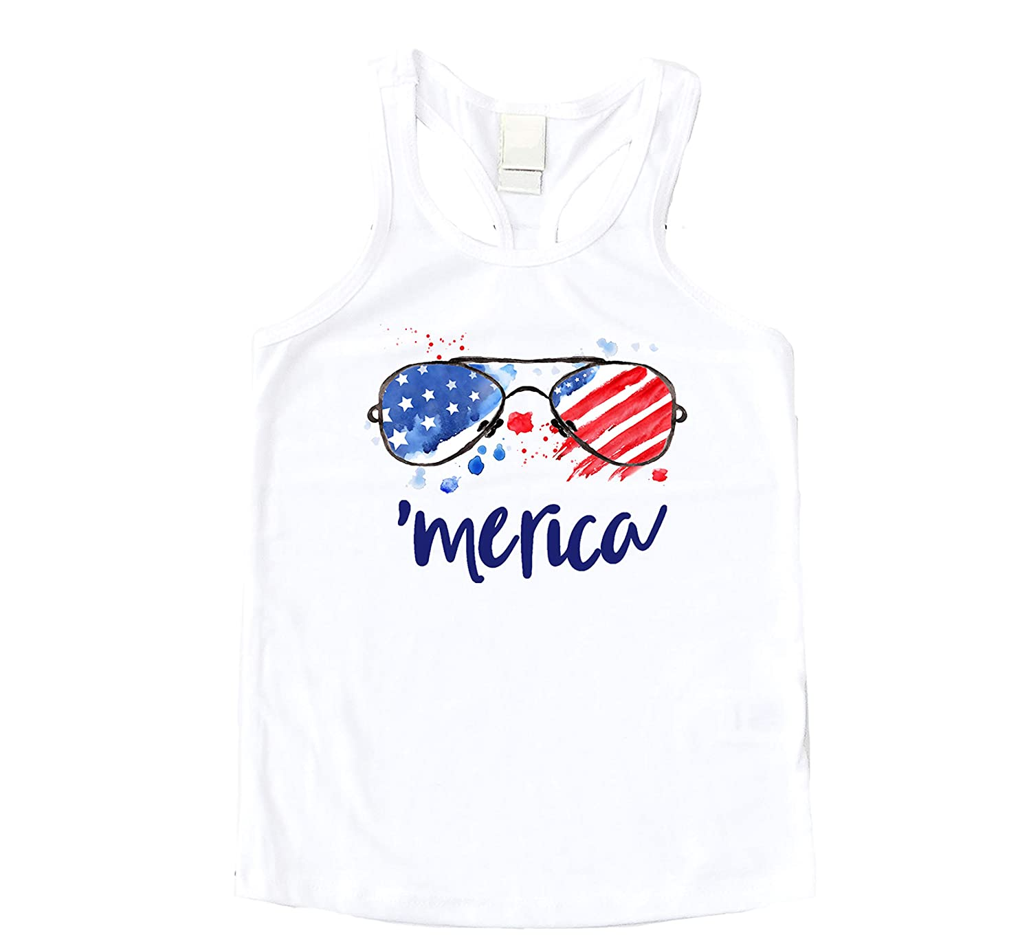 Olive Loves Apple Merica Sunglasses American Flag Shirt for Toddler and Baby Girls Fun 4th of July Outfit