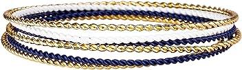 """SIX """"Marine Set aus 6 schmalen gedrehten Arm Reifen in dunkel blau, Gold und weiß, Damen Armband, Armreif, 7 cm (442-559)"""