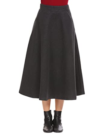 1e08c5300d Shine Women's Scottish Vintage High Waist Wool A-Line Pleated Midi Maxi  Skirts