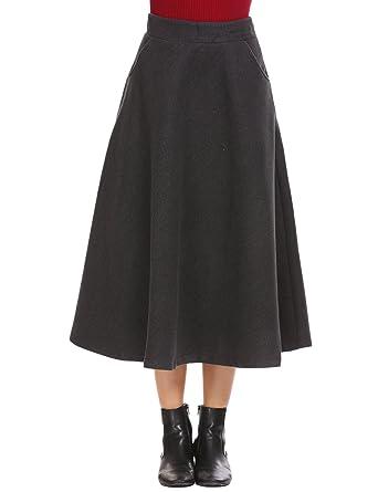 399fe5ee7bd Shine Women s Scottish Vintage High Waist Wool A-Line Pleated Midi Maxi  Skirts