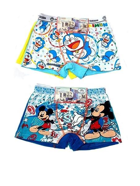2 x dibujos animados niños niños Boxer Slip ropa interior 5 – 12 años Doraemon+