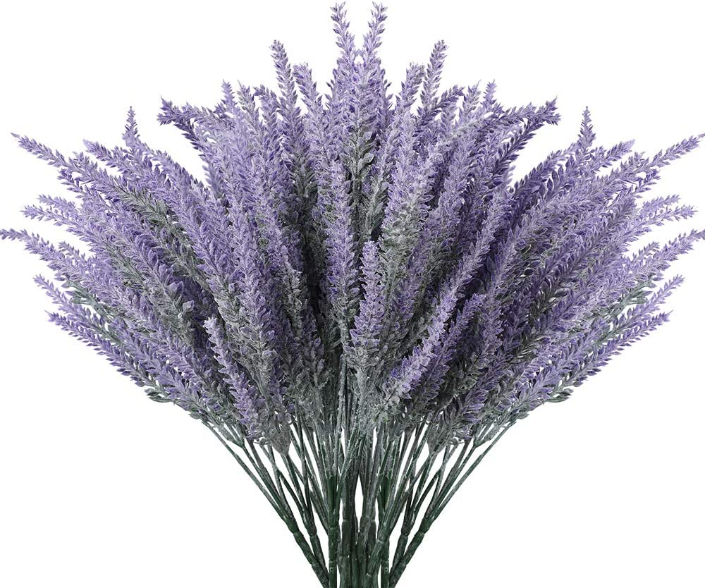 Floweroyal Artificial Lavender Flowers 8pcs Fake Plants with Faux Plastic Wedding Bouquet for Table Centerpieces Home Kitchen Garden Farmhouse Decor (Purple).