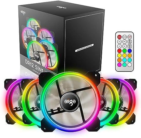 AIGO 120 mm DR12, Ventilador para Main Frame del Ordenador/Ordenador, RGB Silencioso LED de Ventilador/Ventilador de CPU con Gran Volumen de Aire y Ajustable Color (5 Pack): Amazon.es: Hogar