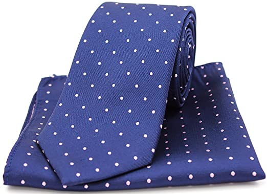 75468b410bba Soprano Blue and Pink Polka Dots Silk Tie and Pocket Square: Amazon.co.uk:  Clothing