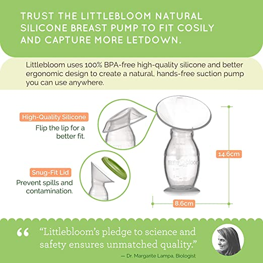 Extractor de leche de Silicona Littlebloom - Extracto leche materna 100% libre de BPA Manual Cierre Manos Libres Y Tapas para Almacenamiento