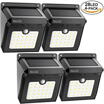Bright 28 LED Solar Powered Motion Sensor Security Wall Ligh...