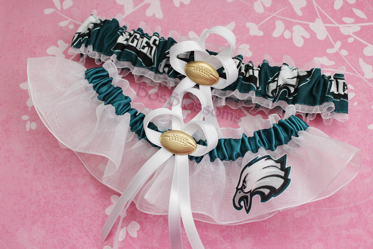 Customizable - Philadelphia Eagles fabric handmade into bridal prom white organza wedding garter set with football charm by BOYX Designs