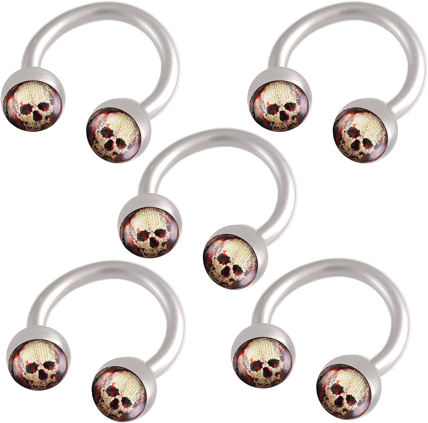 bodyjewellery 16g 16 gauge 1.2mm 5//16 8mm steel circular barbell 4mm skull Logo ring lip ear tragus eyebrow AWCM 5 PCS