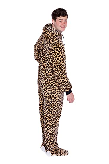d045e33d92 Big Feet Pjs Leopard Print Hoodie Plush Footed Pyjamas with Bum Flap   Amazon.co.uk  Clothing