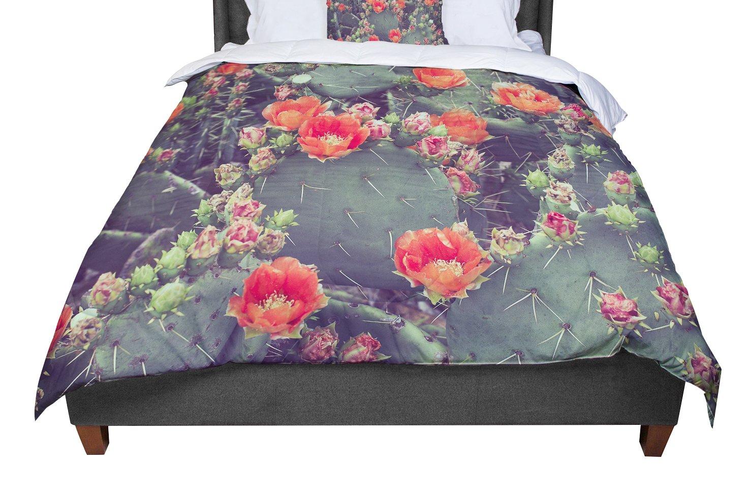 KESS InHouse Ann Barnes Flamenco Red Green Twin Comforter 68 X 88