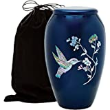Mother of Pearl Inlaid Metal Cremation Urn - MOP Cremation Urn - Solid Metal Funeral Urn - Handcrafted Adult Funeral Urn for Ashes - Great Urn Deal with Free Bag (Hummingbird)