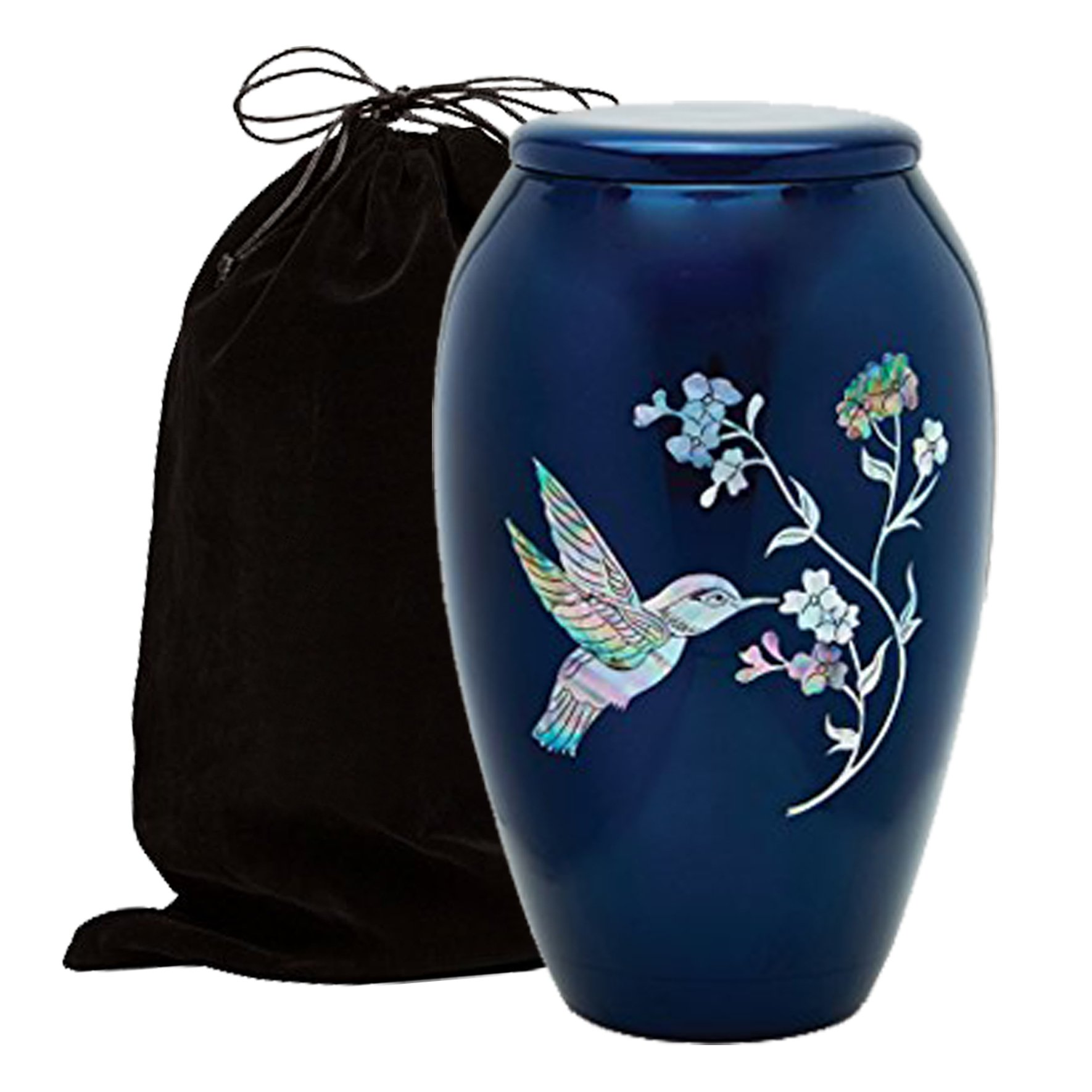 Mother of Pearl Inlaid Metal Cremation Urn - MOP Cremation Urn - Solid Metal Funeral Urn - Handcrafted Adult Funeral Urn for Ashes - Great Urn Deal with Free Bag (Hummingbird) by Trinityurns