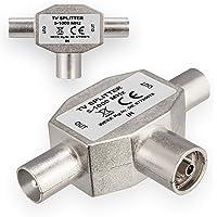 HB-DIGITAL TV-verdeler voor kabel DVB-C + terrestrische ontvangst DVB-T2 TV-splitser 2-wegs splitter T-adapter metalen…