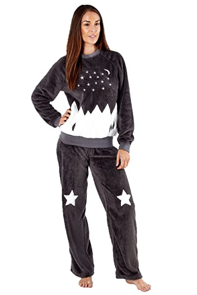 Amazon.com: Señoras Plush Forro Polar Pijama/pijama/Lounge ...