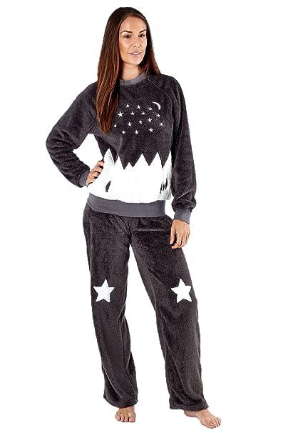Amazon.com: Señoras Plush Forro Polar Pijama/pijama/Lounge ...