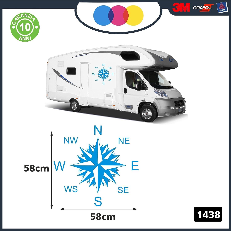 - per Camper Decal - cod FURGONI E Van 57 X 57 Centimetri Rosa dei Venti Stickers 1438 Celeste 2 Adesivi per Camper Accessori Camper Caravan roulotte Adesivi per Camper