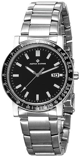 Alpha Saphir 2019-A - Reloj de caballero de cuarzo con correa de acero inoxidable plateada: Amazon.es: Relojes