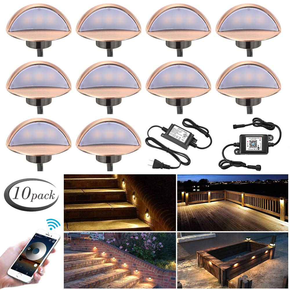 WiFi Deck Lights Kit, FVTLED WiFi Controlled 10pcs Low Voltage LED Step Lights Kit Φ1.97'' Stainless Steel Waterproof Outdoor Recessed Railing Light Work with Alexa Google Home, Warm White, Bronze