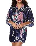 Très Chic Mailanda Kimono Pigiama Donna Camicia da Notte Vestaglie Corte Scollo a V con Cintura Stampa di Pavone e Fiori Retro