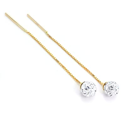 9ct Yellow Gold chain threader pull through cubic zirconia cz earrings nJzlKZ