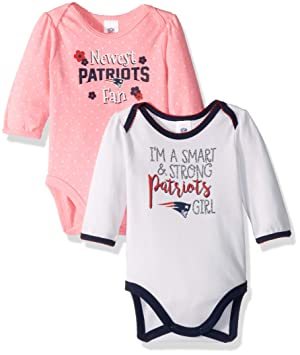 d96137998 Gerber Childrenswear NFL New England Patriots Girls 20182 Pack Long sleeve  Bodysuit, Pink, 3